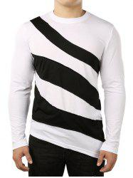 Asymmetric Color Block Striped Shirt -