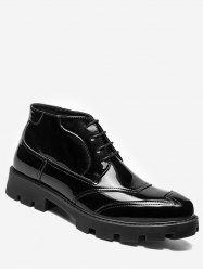 Patent Leather Sewing Ankle Boots -