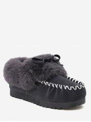Contrast Toe Faux Fur Loafer Flats -