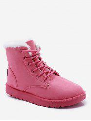 Lace Up Suede Ankle Snow Boots -