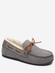 Lace Bowknot Suede Loafer Flats -