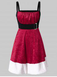 Christmas Plus Size Velvet Mini Santa Claus Dress -