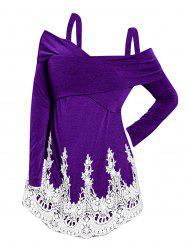 Front Criss Cross Plus Size Applique T-shirt -