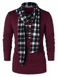 Checked Print Destroyed Scarf Collar T-shirt -