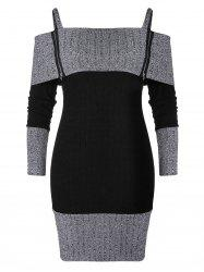 Plus Size Cami Zip Two Tone Knitted Bodycon Dress -