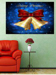 Christmas Bowknot Bells Print Wall Art Sticker -