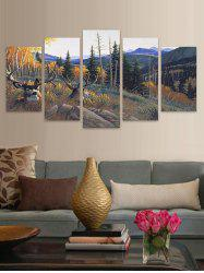 Mountains Elks Print Unframed Split Canvas Paintings -