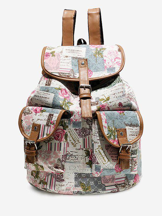 Buy Floral and Letter Pattern Canvas Backpack