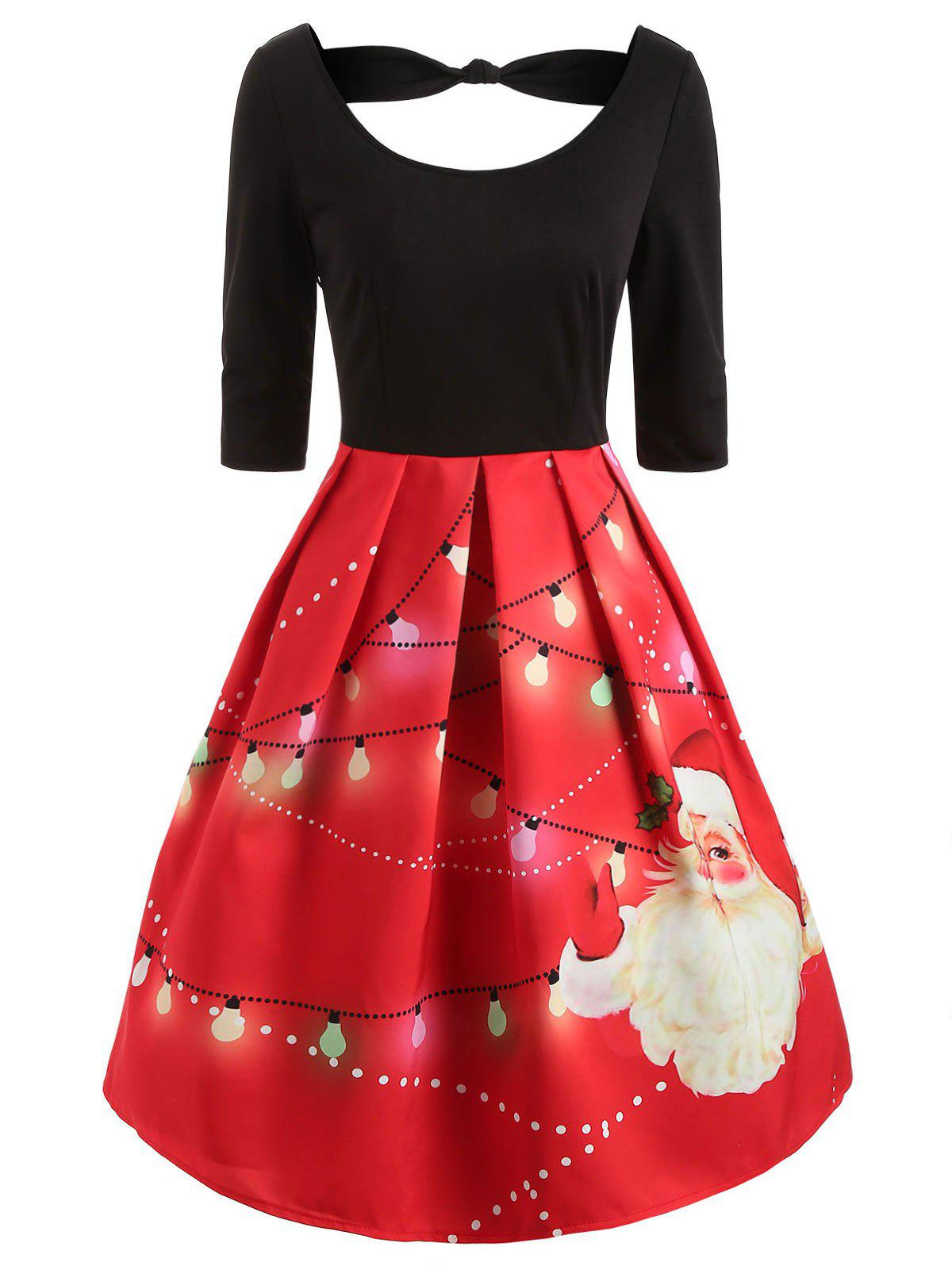 Store Half Sleeve Christmas Santa Print Dress