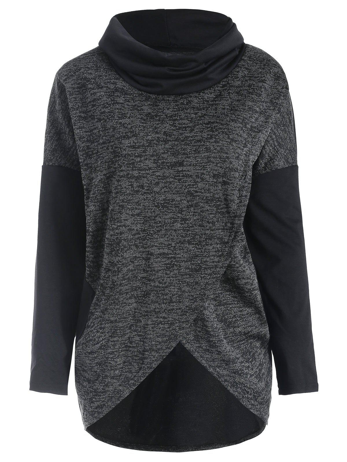 Outfits Cowl Neck Asymmetrical Hem Knitwear
