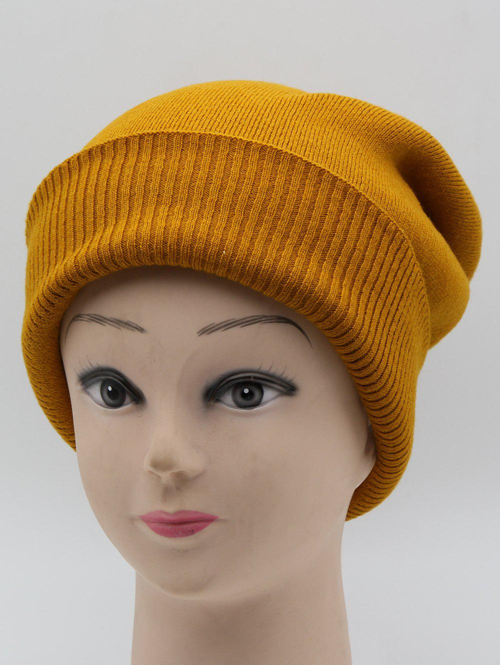 Outfits Flanging Solid Color Warm Knitted Beanie