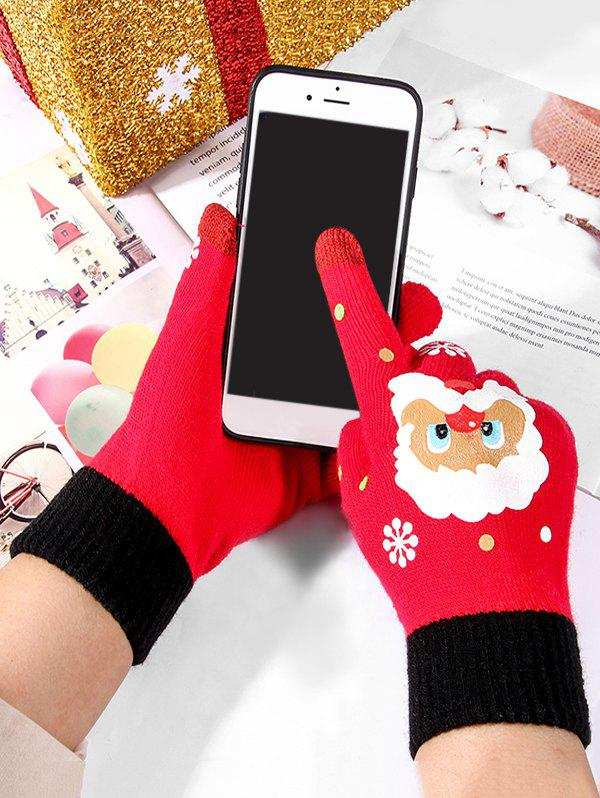 Online Christmas Santa Claus Knitted Touch Screen Gloves