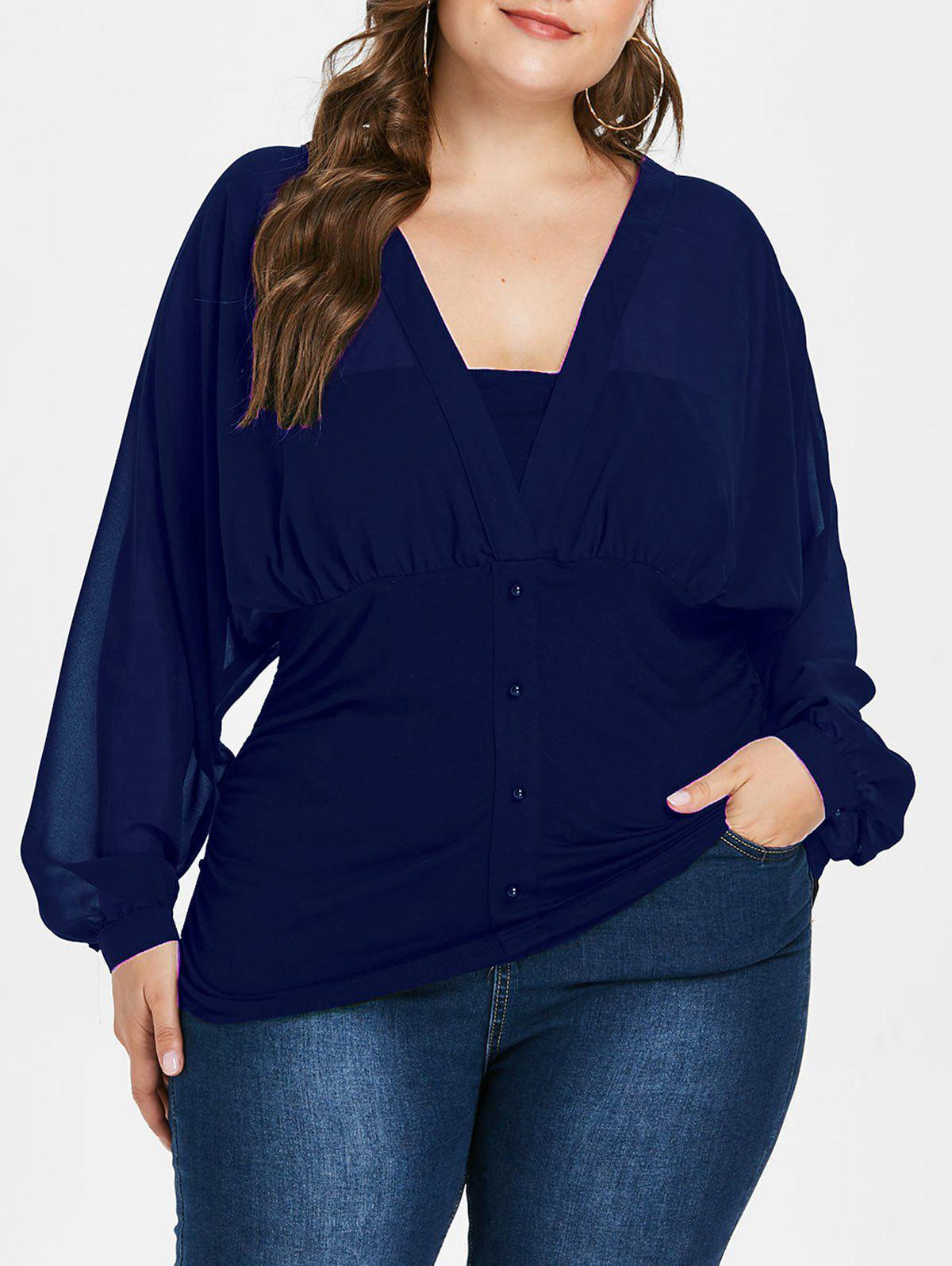 Cheap Plunge Plus Size Button Embellished Blouse