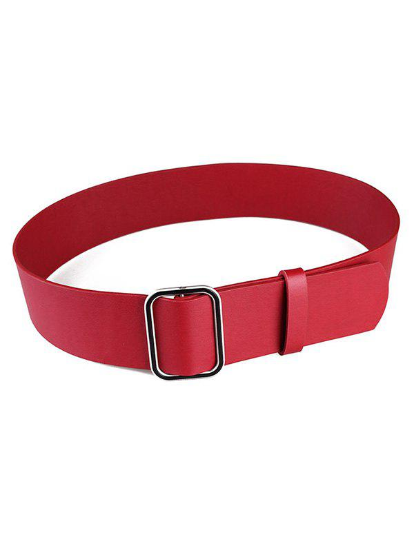 Affordable Metal Faux Leather Buckle Wide Belt