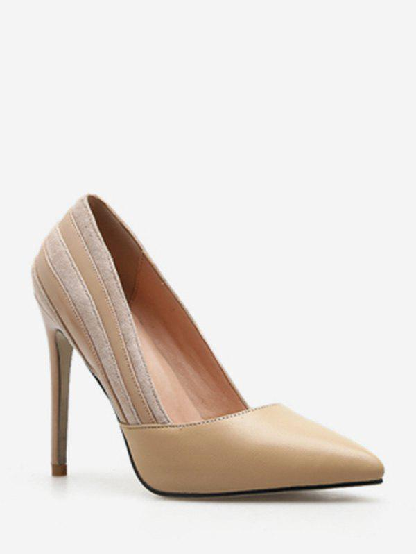 Discount Suede Stripe Pointed Toe Pumps