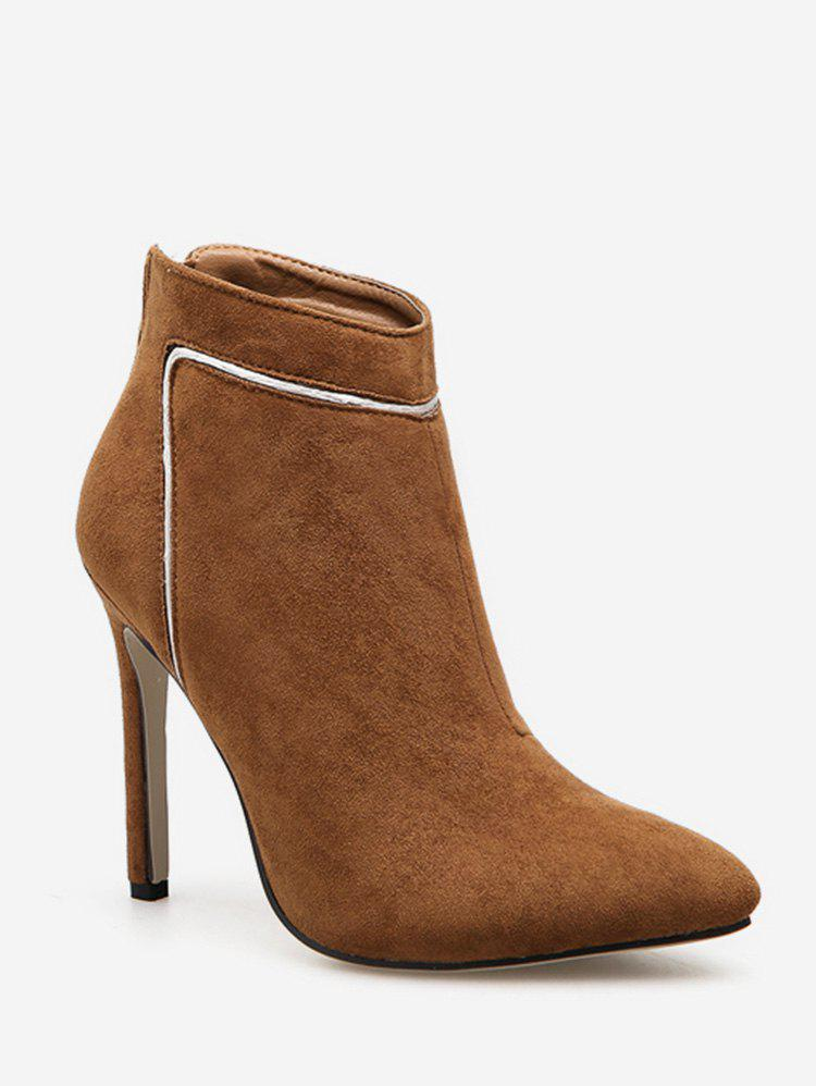 New Contrast Stripe Pointed Toe Ankle Boots