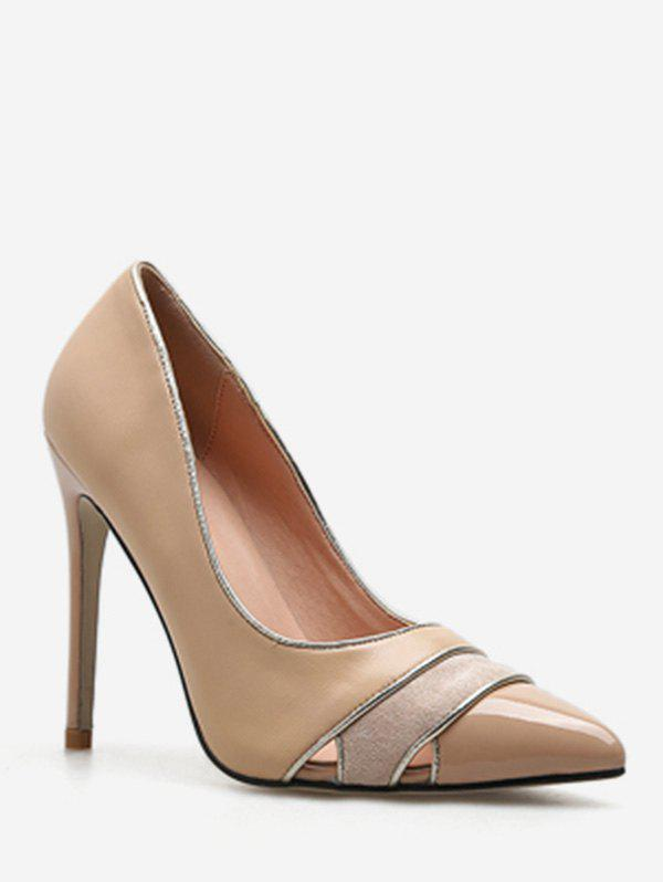 New Cut Out Striped Pointed Toe Pumps
