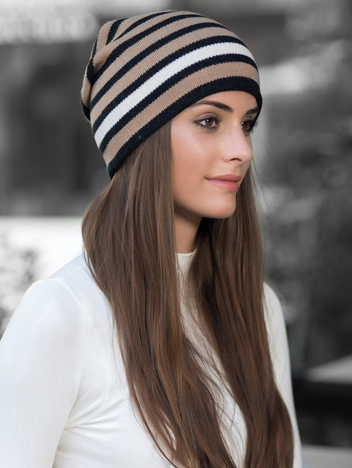 Latest Winter Thick Warm Striped Wool Knitted Beanie