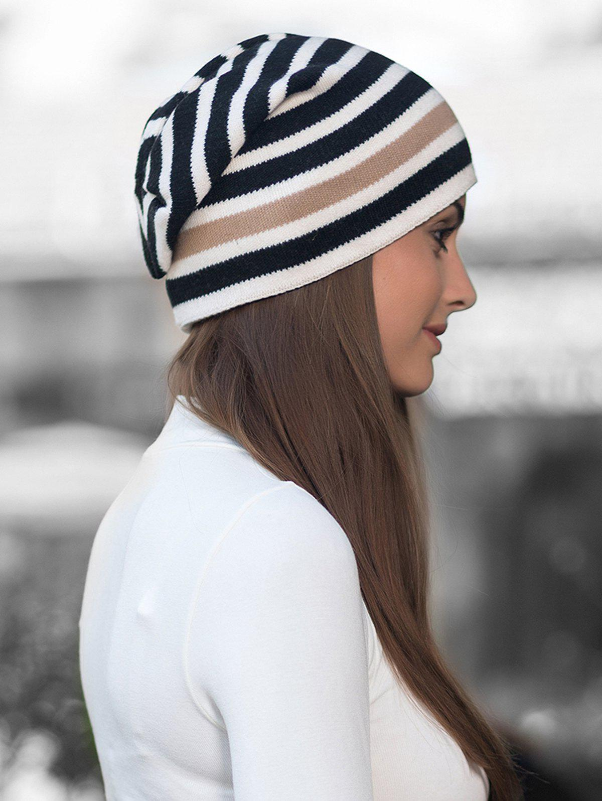 Buy Winter Thick Warm Striped Wool Knitted Beanie