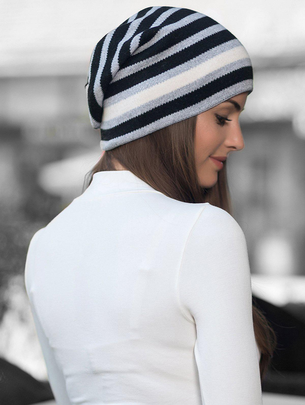 Trendy Winter Thick Warm Striped Wool Knitted Beanie