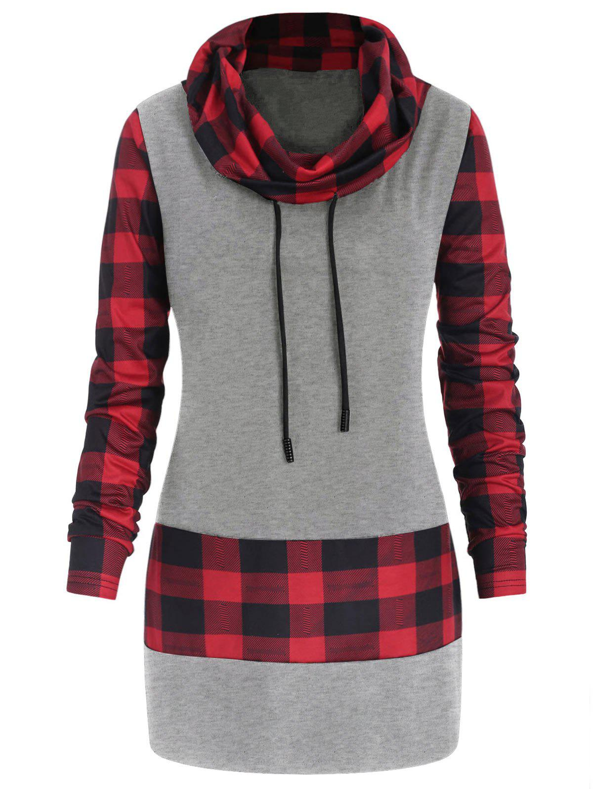 Hot Plus Size Long Sleeves Plaid Panel Tee