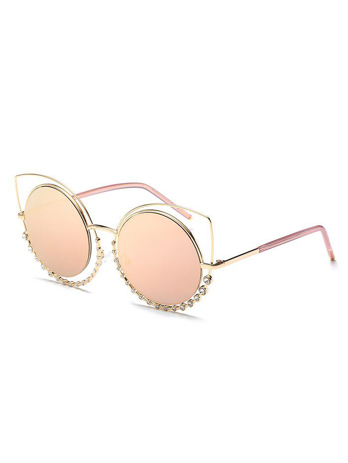 Trendy Rhinestone Inlaid Hollow Out Round Sunglasses