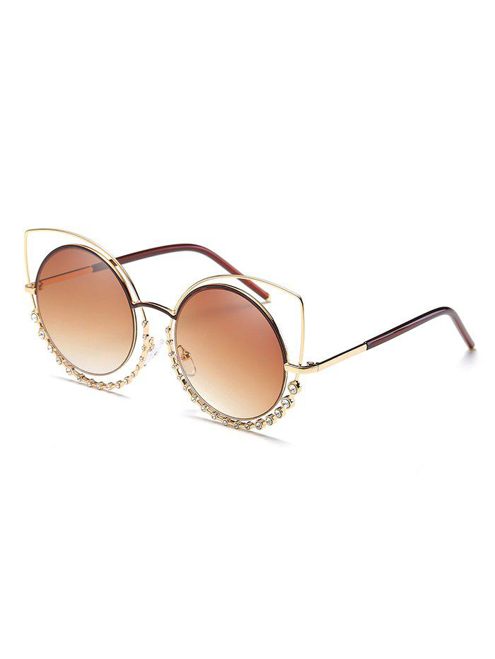 Best Rhinestone Inlaid Hollow Out Round Sunglasses