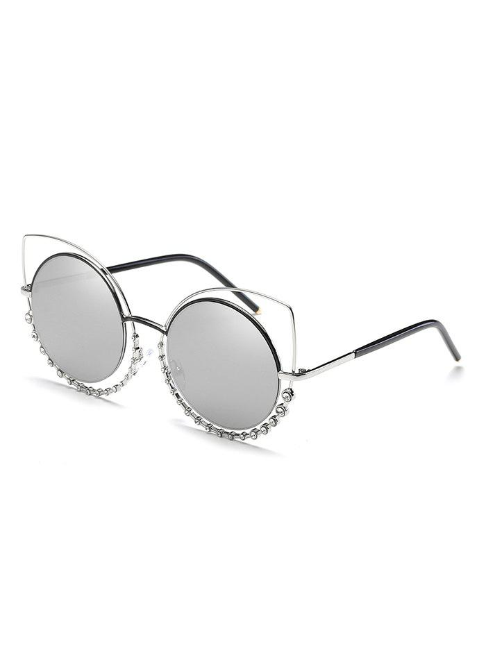 Fancy Rhinestone Inlaid Hollow Out Round Sunglasses