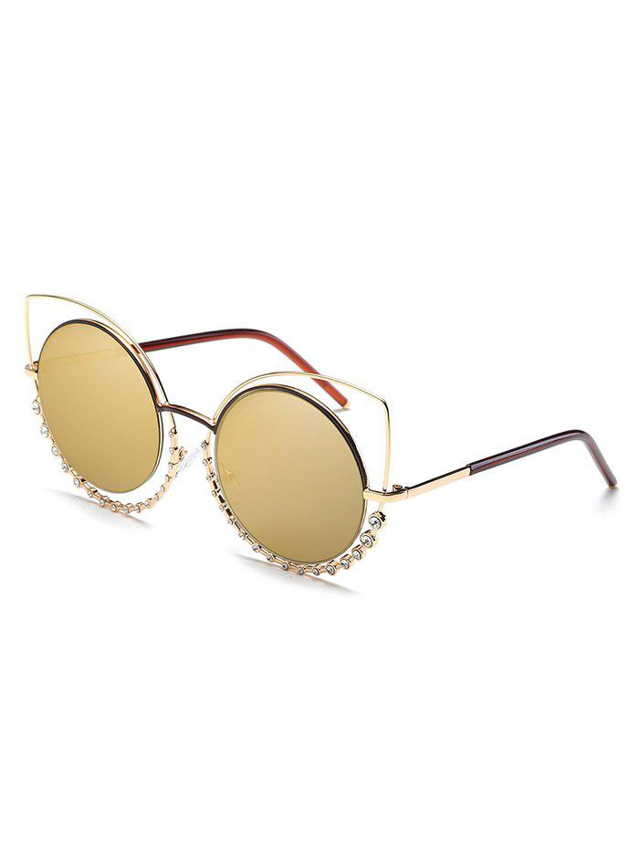 Shop Rhinestone Inlaid Hollow Out Round Sunglasses