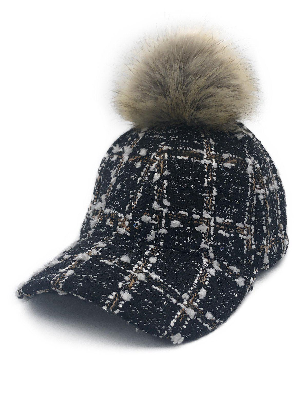 Sale Winter Fuzzy Ball Embellished Baseball Cap