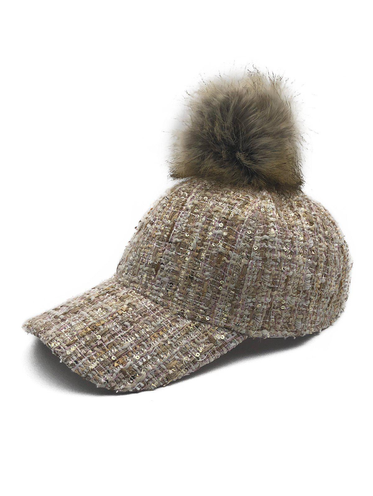Online Winter Fuzzy Ball Embellished Baseball Cap