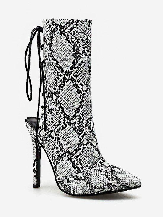 Trendy Snake Print Lacing Back Heeled Boots