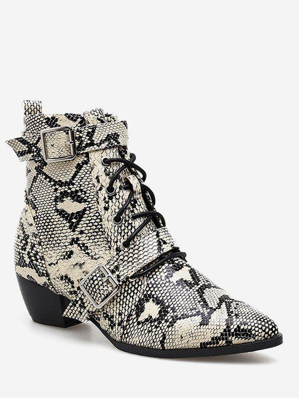 Outfits Double Buckle Snake Print Ankle Boots