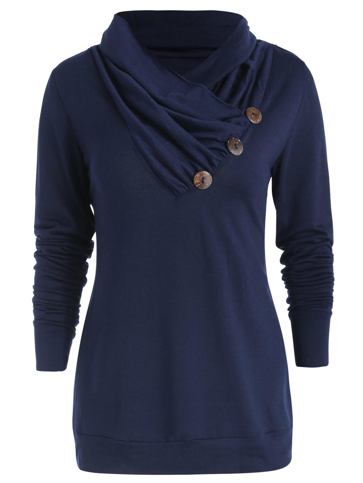 Fashion Cowl Neck Button Embellished T Shirt