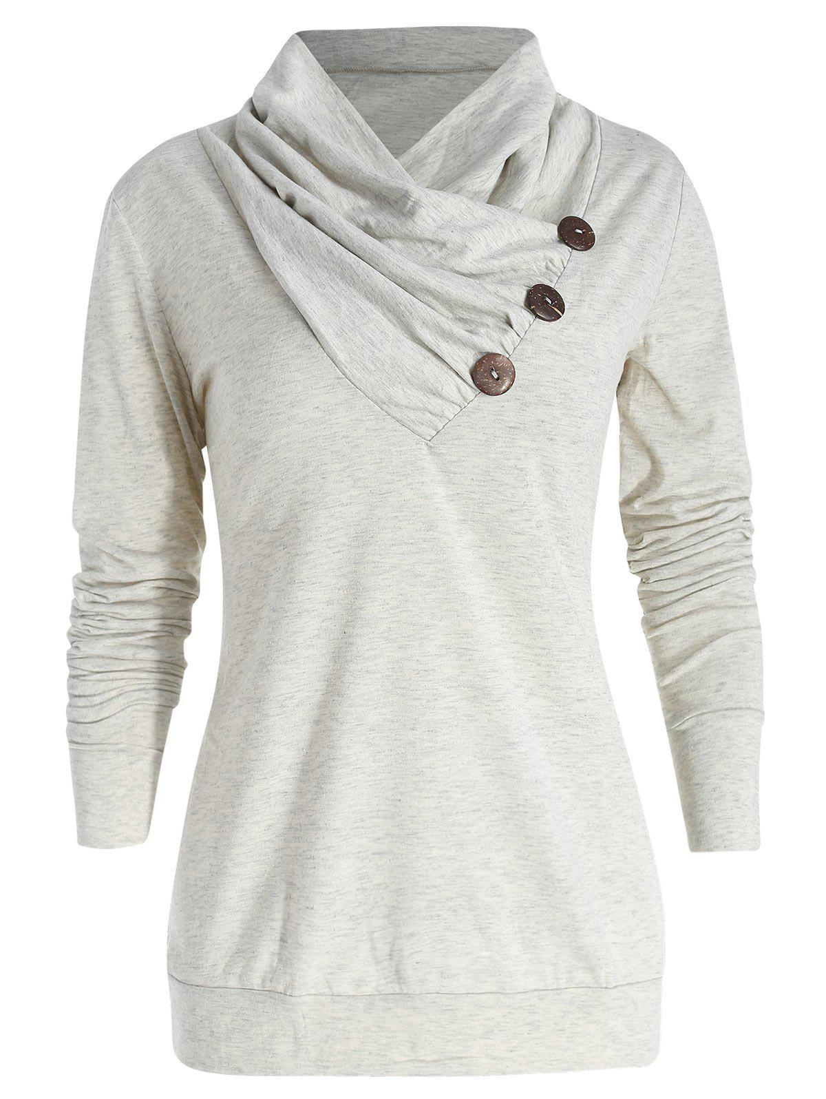 Discount Cowl Neck Button Embellished T Shirt