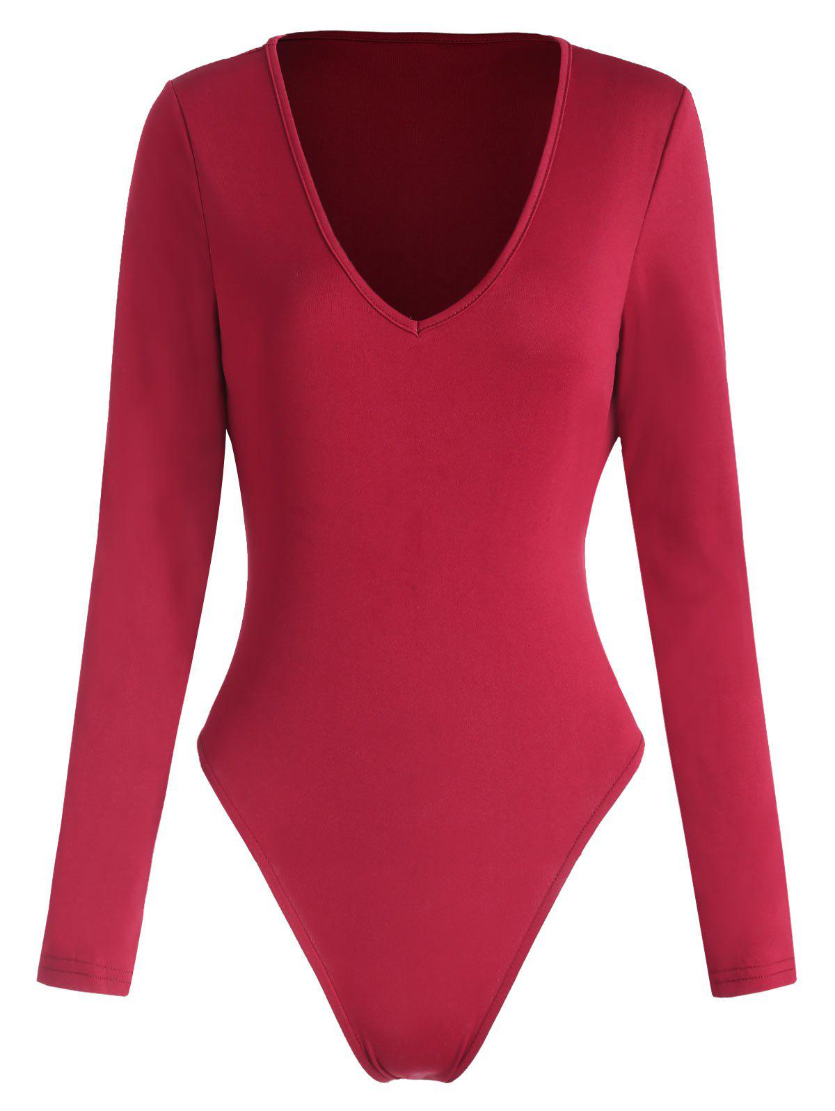 Buy V Neck Long Sleeve Bodysuit