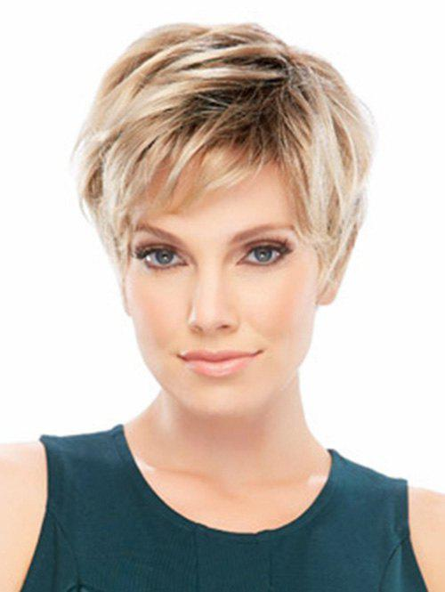 Cheap Side Bang Colormix Short Layer Straight Synthetic Wig