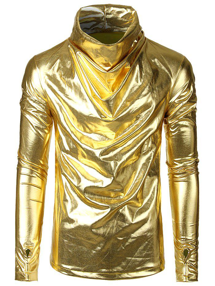 Latest Long Sleeves Solid Color Metallic Shirt