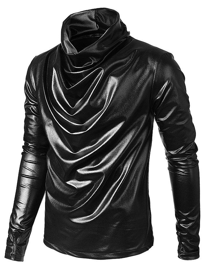 Affordable Long Sleeves Solid Color Metallic Shirt