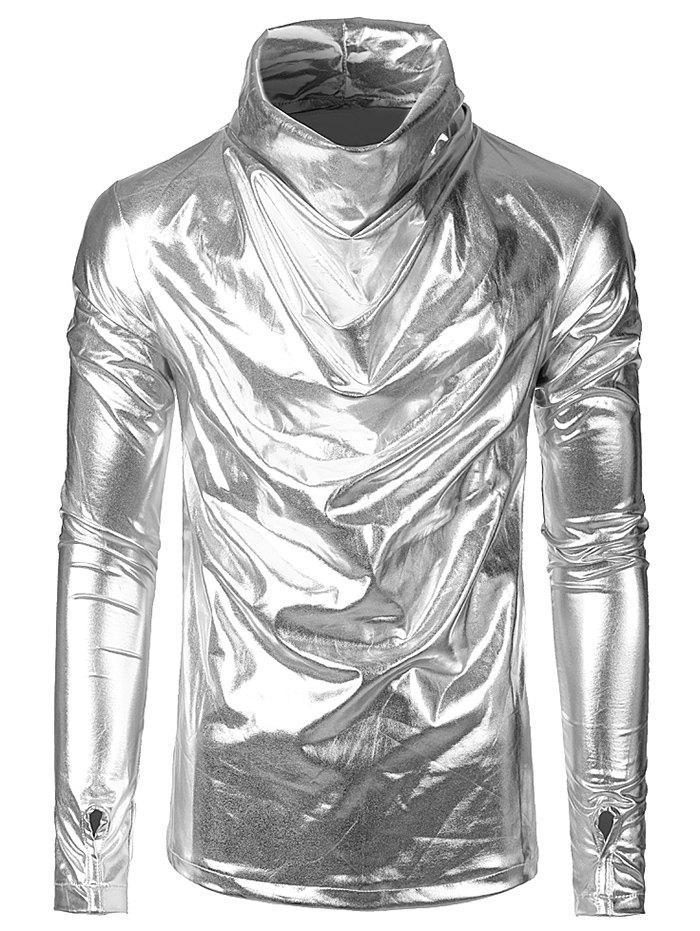 Outfits Long Sleeves Solid Color Metallic Shirt