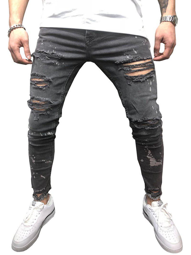 Shops Casual Destroy Wash Ripped Jeans