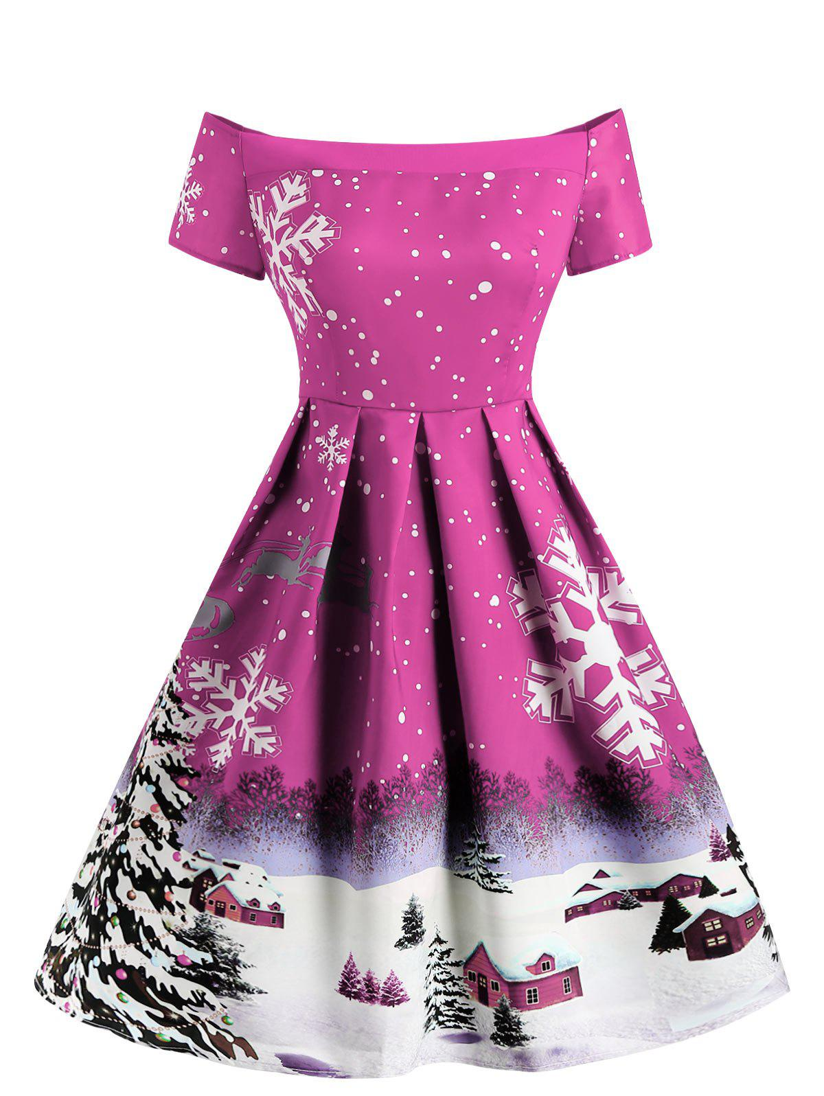 Discount Christmas Snowflake Print Off The Shoulder Dress