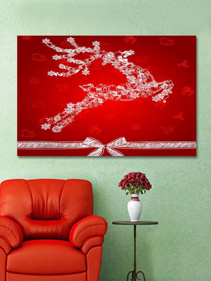 Shop Christmas Elk Bowknot Print Wall Art Sticker
