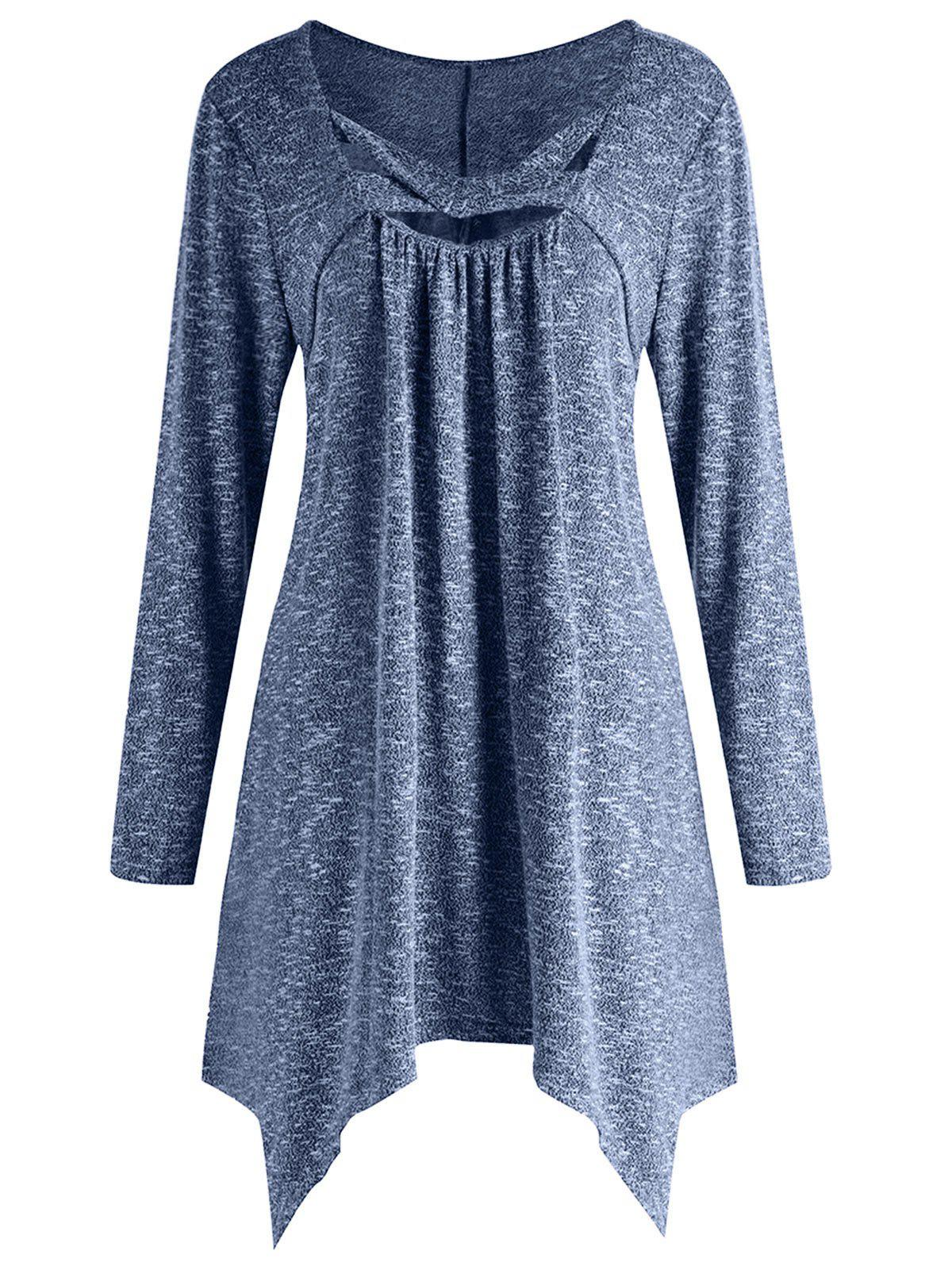 Outfits Plus Size U Neck Criss Cross Long Sleeves Tee