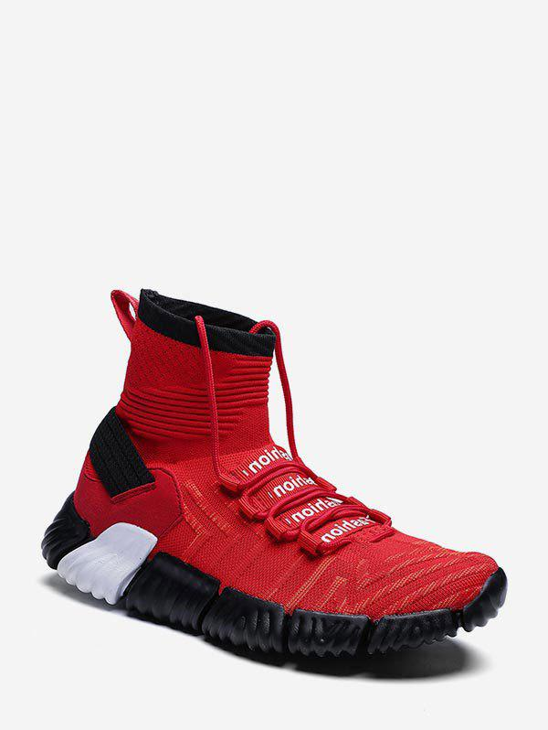 Affordable Contrast Letter High Top Sock Sneakers