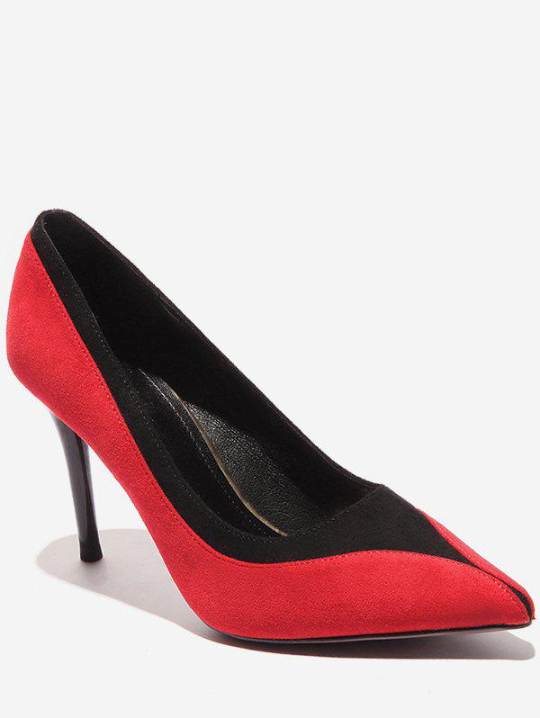 Buy Contrast Pointed Toe Suede Pumps