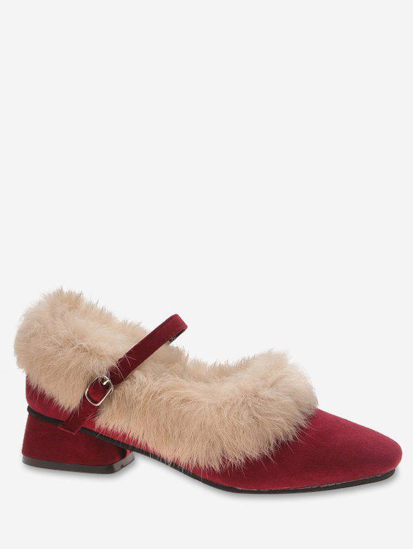 Buy Faux Fur Trim Suede Flats