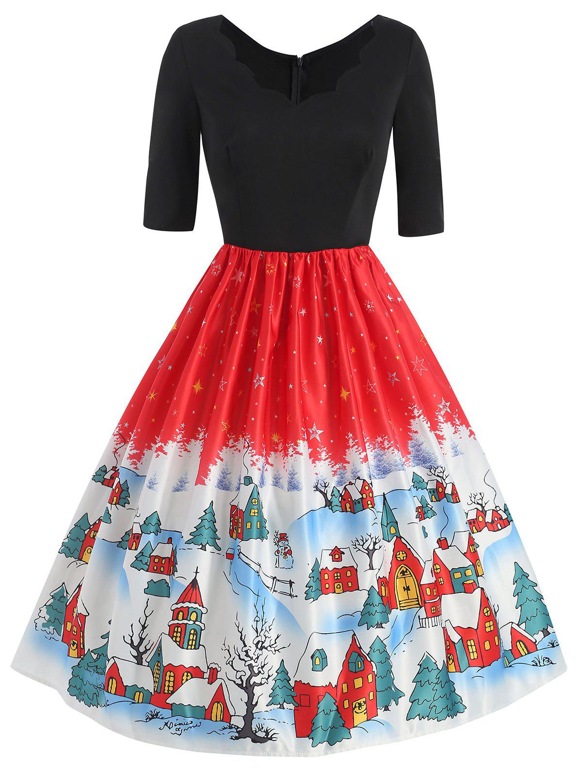 Affordable Plus Size Vintage Snowflake Christmas Flare Dress