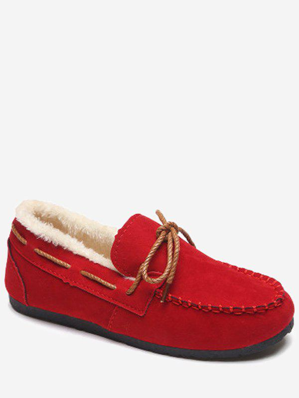 Hot Lace Bowknot Suede Loafer Flats