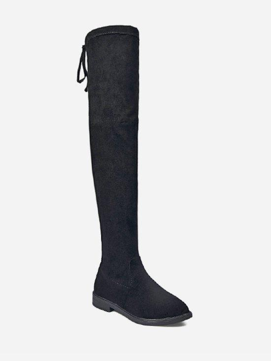 Unique Drawstring Suede Thigh High Boots